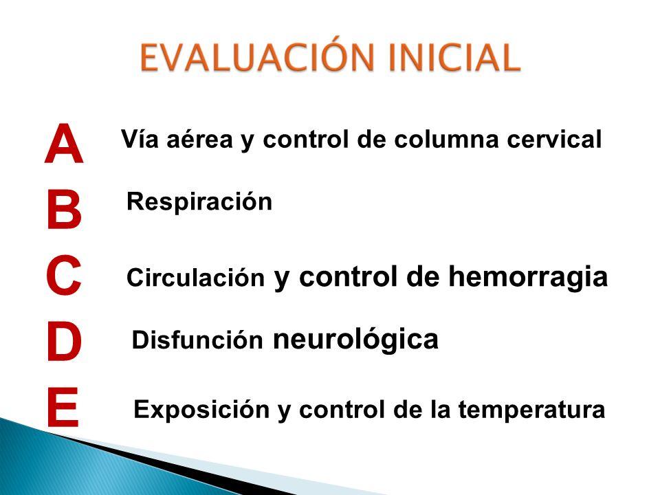 ABCDEABCDE Vía aérea y control de columna cervical Respiración Circulación y control de hemorragia Disfunción neurológica Exposición y control de la t