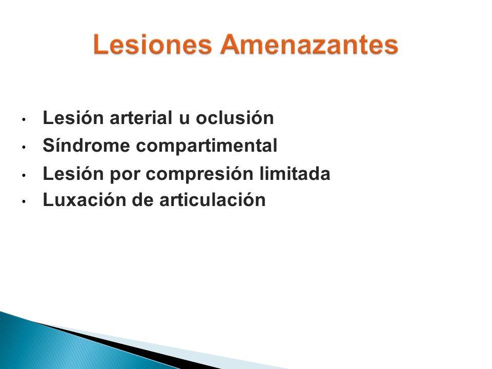 Lesión arterial u oclusión Síndrome compartimental Lesión por compresión limitada Luxación de articulación