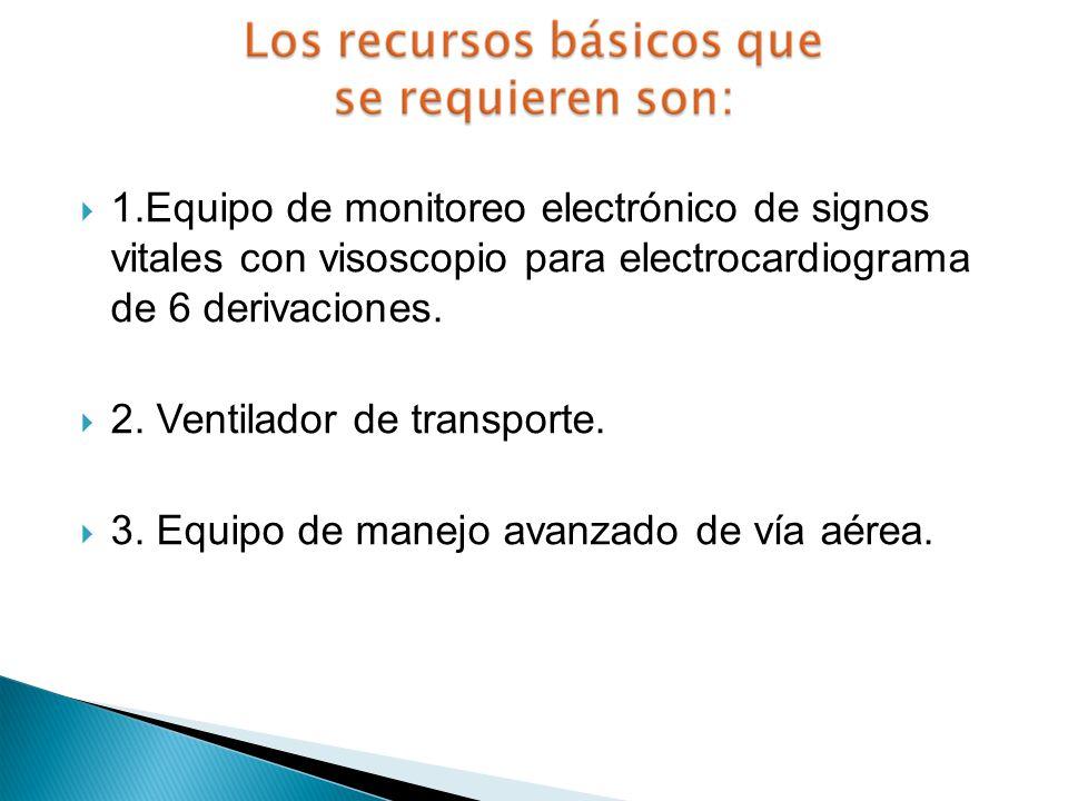 1.Equipo de monitoreo electrónico de signos vitales con visoscopio para electrocardiograma de 6 derivaciones. 2. Ventilador de transporte. 3. Equipo d