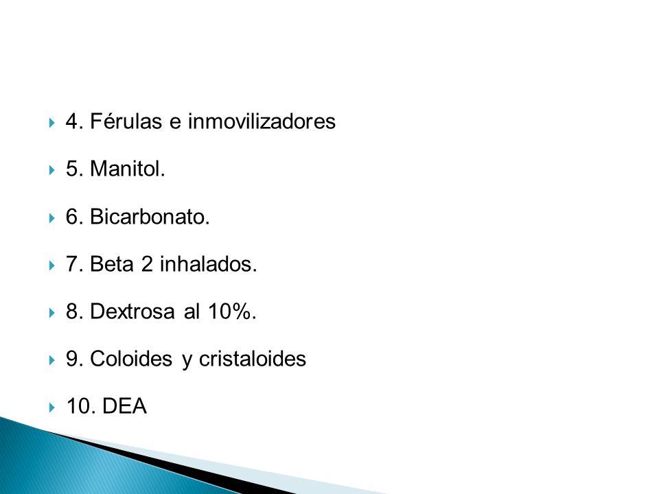 4. Férulas e inmovilizadores 5. Manitol. 6. Bicarbonato. 7. Beta 2 inhalados. 8. Dextrosa al 10%. 9. Coloides y cristaloides 10. DEA