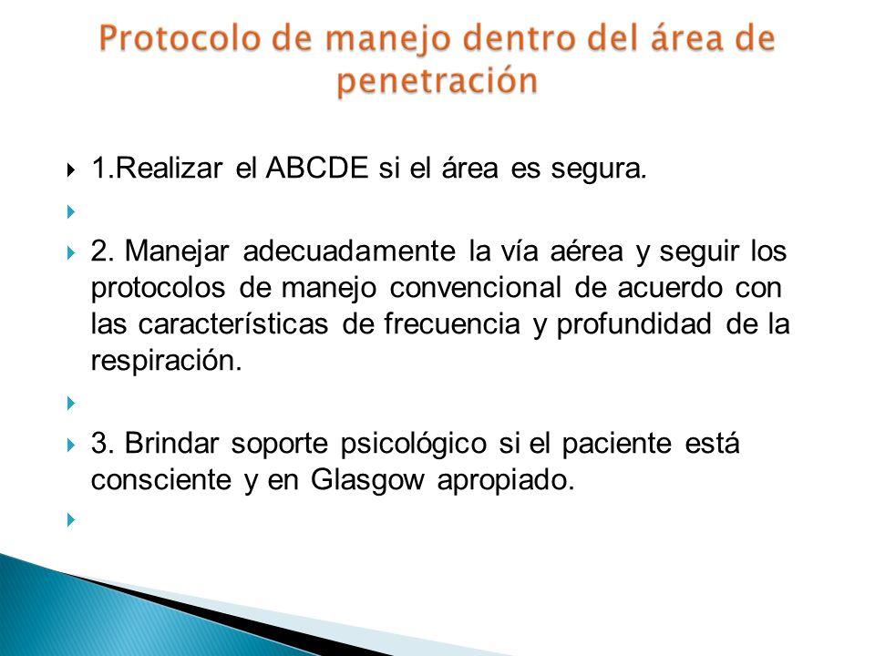 1.Realizar el ABCDE si el área es segura. 2. Manejar adecuadamente la vía aérea y seguir los protocolos de manejo convencional de acuerdo con las cara