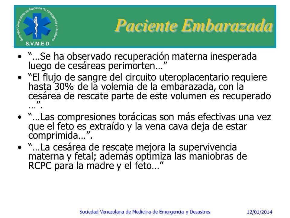 12/01/2014 Sociedad Venezolana de Medicina de Emergencia y Desastres Paciente Embarazada Condiciones que van a afectar al éxito de la cesárea perimorten Viabilidad fetal (> 24-28 semanas son óptimas).