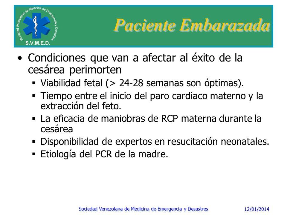 12/01/2014 Sociedad Venezolana de Medicina de Emergencia y Desastres Paciente Embarazada Maniobras de RCP: CAMBIOS AHA 2010: CAB Y NO ABC ; 30:2 Inclinación a 30-45° o desplace suavemente el abdomen hacia la izquierda.