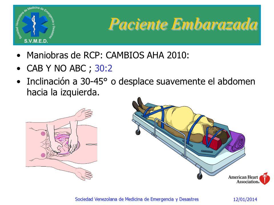 12/01/2014 Sociedad Venezolana de Medicina de Emergencia y Desastres Paciente Embarazada Maniobras de RCPC Actuar de acuerdo a la etiología del PCR Obstrucción Vía aérea Hipovolemia: Fluidoterapia FV / TV: Desfibrilación Causa del PCR reversible (broncoespasmo-drogas) NO SE REALIZA LA CESAREA Realizar la cesárea entre 5 – 15 minutos luego del PCR Mantener RCP durante la cesárea