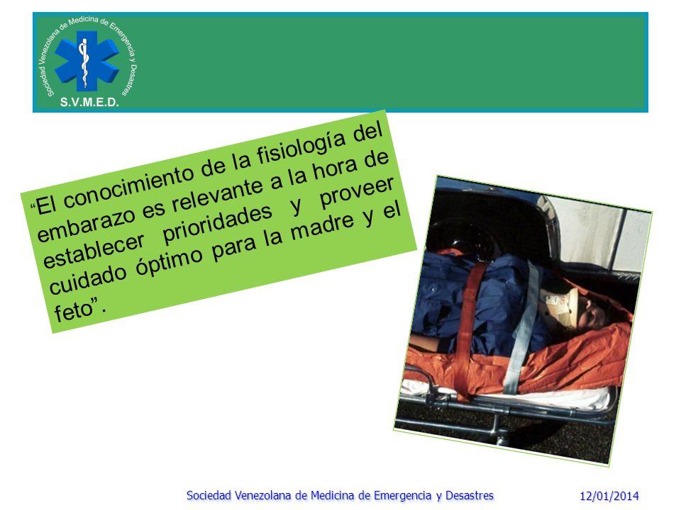 12/01/2014 Sociedad Venezolana de Medicina de Emergencia y Desastres El conocimiento de la fisiología del embarazo es relevante a la hora de establece