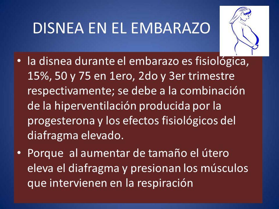 la disnea durante el embarazo es fisiológica, 15%, 50 y 75 en 1ero, 2do y 3er trimestre respectivamente; se debe a la combinación de la hiperventilaci