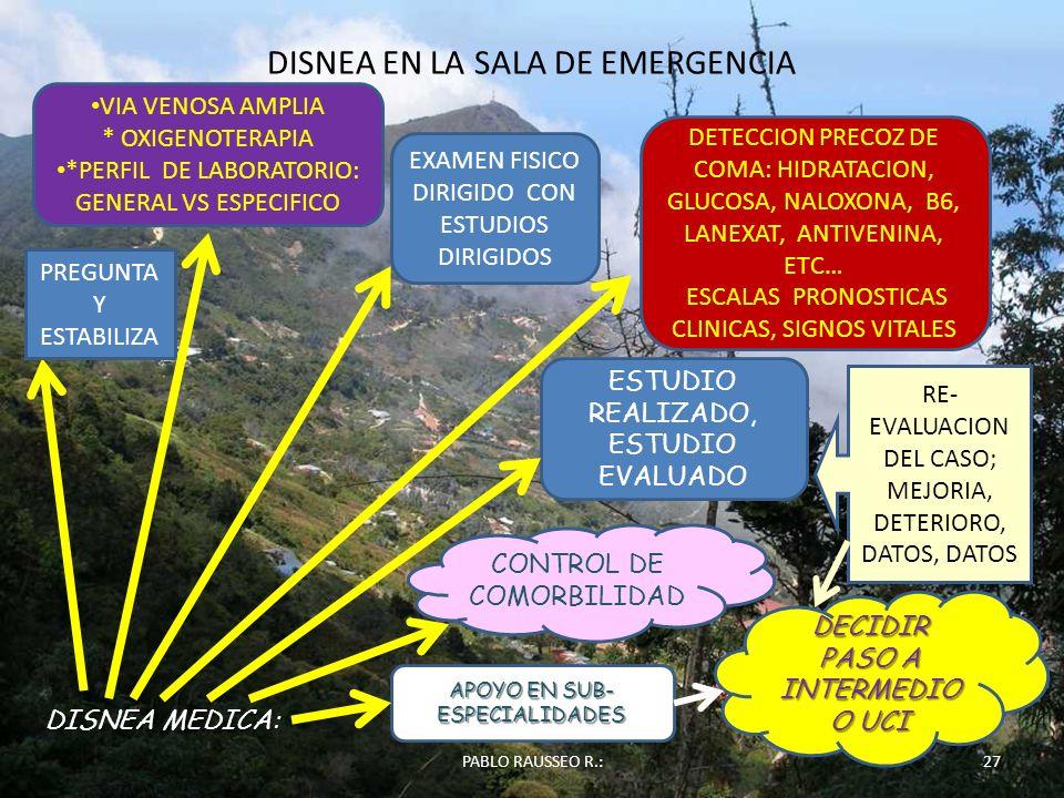 DISNEA EN LA SALA DE EMERGENCIA 27PABLO RAUSSEO R.: DISNEA MEDICA: PREGUNTA Y ESTABILIZA VIA VENOSA AMPLIA * OXIGENOTERAPIA *PERFIL DE LABORATORIO: GE