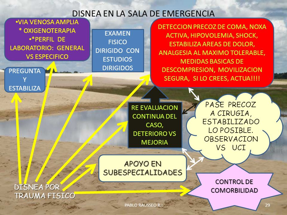 DISNEA EN LA SALA DE EMERGENCIA 29PABLO RAUSSEO R.: DISNEA POR TRAUMA FISICO PREGUNTA Y ESTABILIZA VIA VENOSA AMPLIA * OXIGENOTERAPIA *PERFIL DE LABOR
