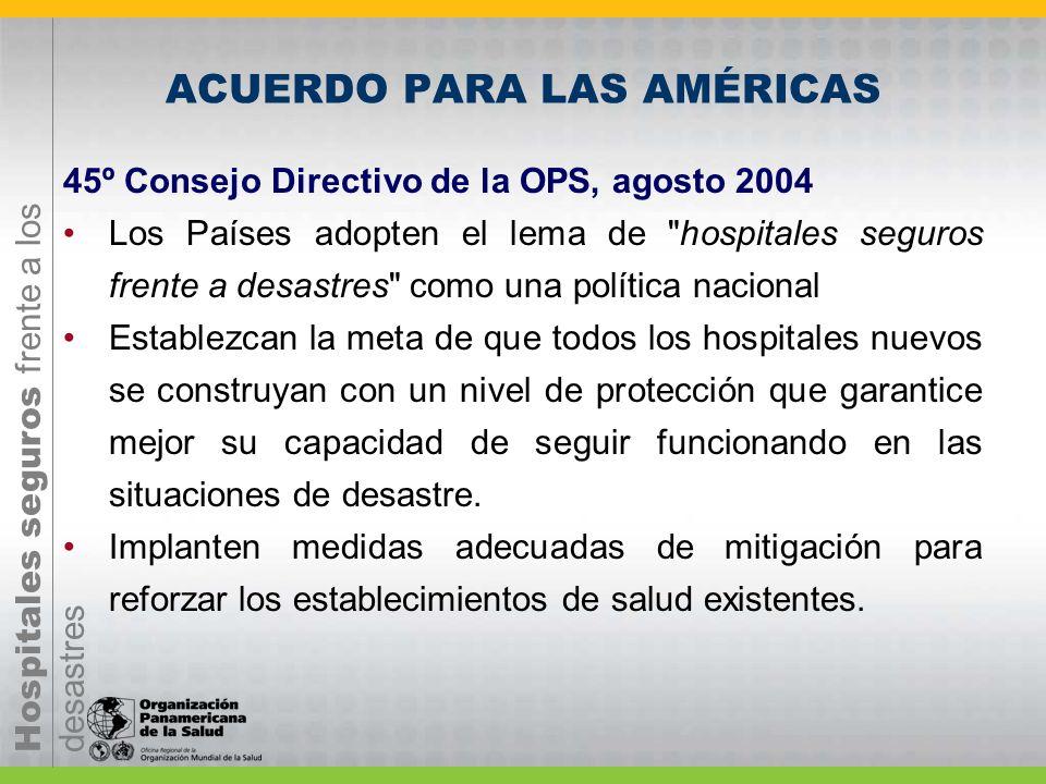 Hospitales seguros frente a los desastres ACUERDO PARA LAS AMÉRICAS 45º Consejo Directivo de la OPS, agosto 2004 Los Países adopten el lema de