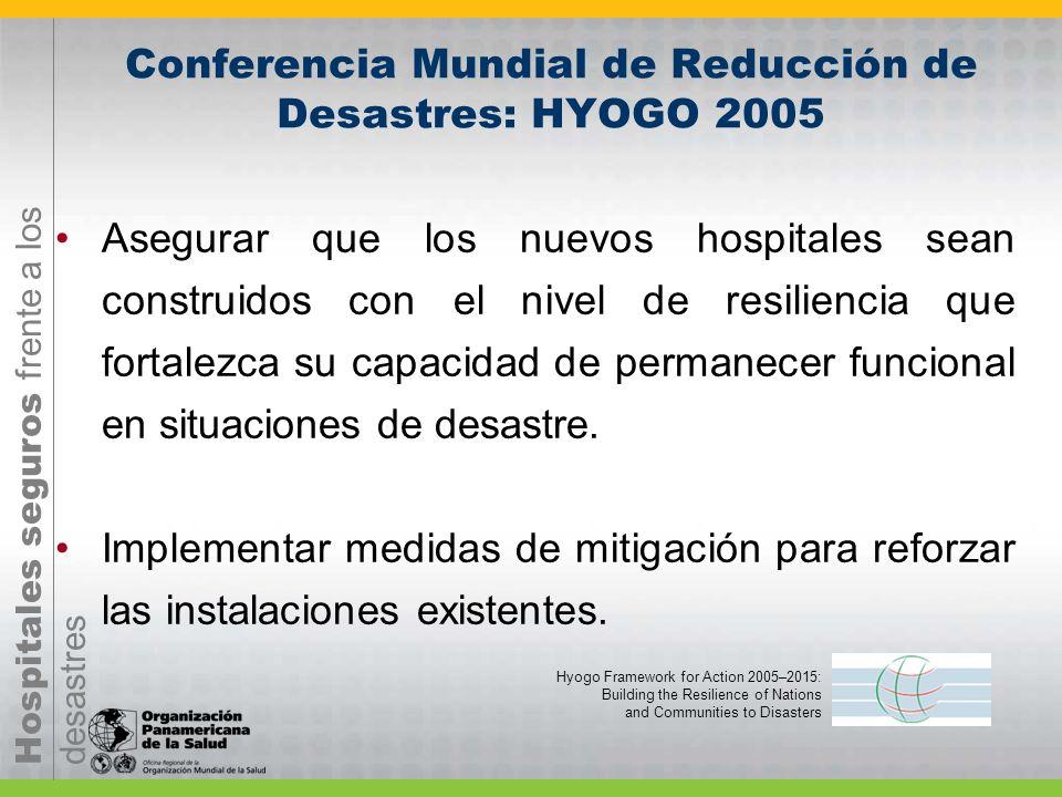 Hospitales seguros frente a los desastres Asegurar que los nuevos hospitales sean construidos con el nivel de resiliencia que fortalezca su capacidad