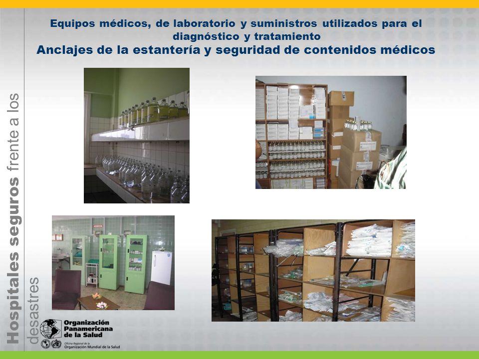 Hospitales seguros frente a los desastres Equipos médicos, de laboratorio y suministros utilizados para el diagnóstico y tratamiento Anclajes de la es