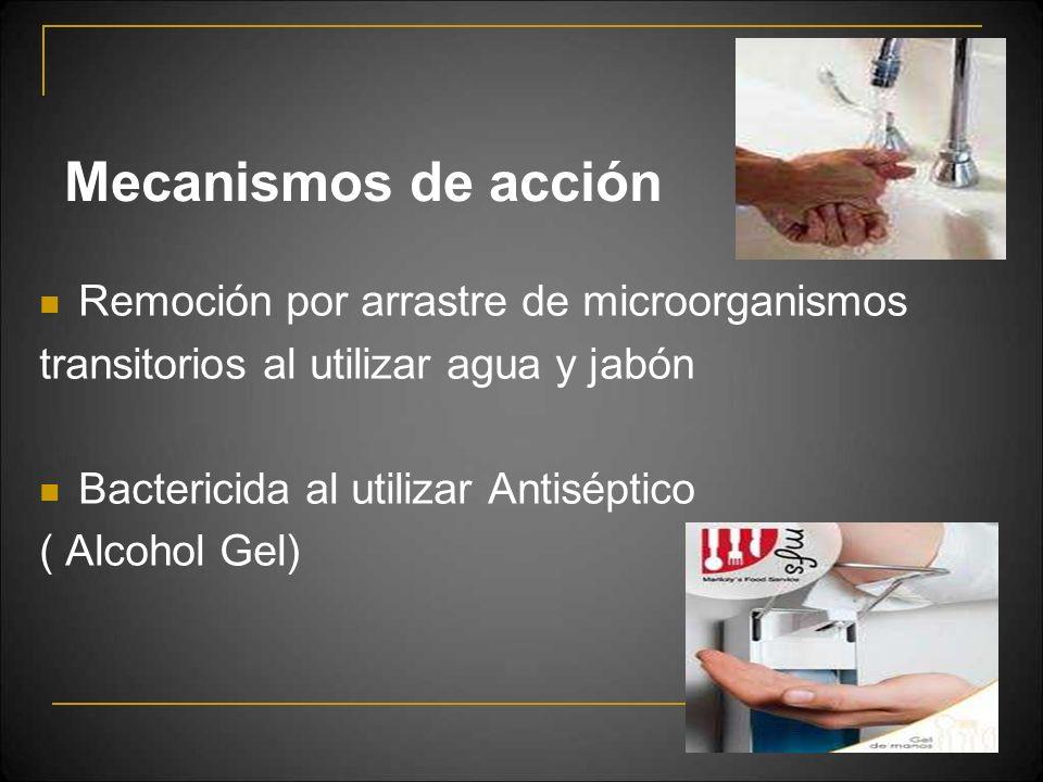 Mecanismos de acción Remoción por arrastre de microorganismos transitorios al utilizar agua y jabón Bactericida al utilizar Antiséptico ( Alcohol Gel)
