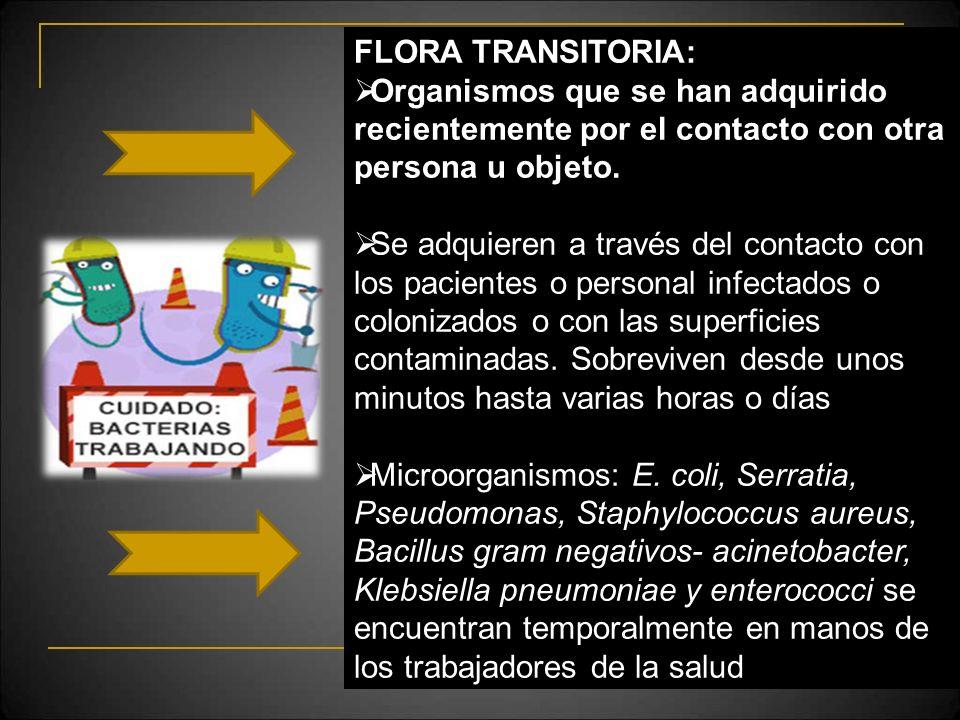 FLORA TRANSITORIA: Organismos que se han adquirido recientemente por el contacto con otra persona u objeto. Se adquieren a través del contacto con los