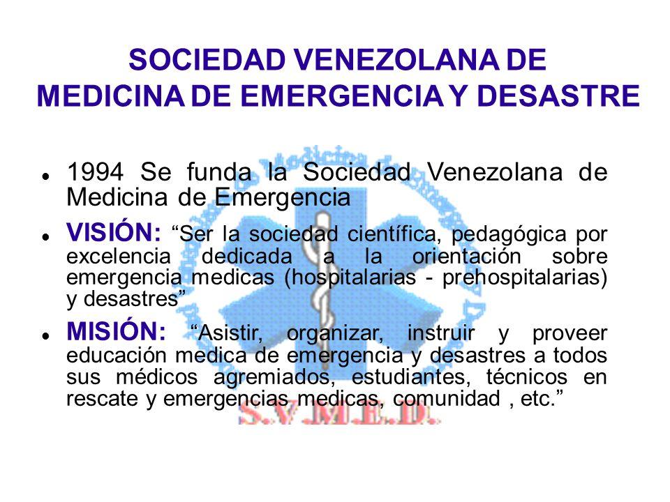 1994 Se funda la Sociedad Venezolana de Medicina de Emergencia VISIÓN: Ser la sociedad científica, pedagógica por excelencia dedicada a la orientación sobre emergencia medicas (hospitalarias - prehospitalarias) y desastres MISIÓN: Asistir, organizar, instruir y proveer educación medica de emergencia y desastres a todos sus médicos agremiados, estudiantes, técnicos en rescate y emergencias medicas, comunidad, etc.
