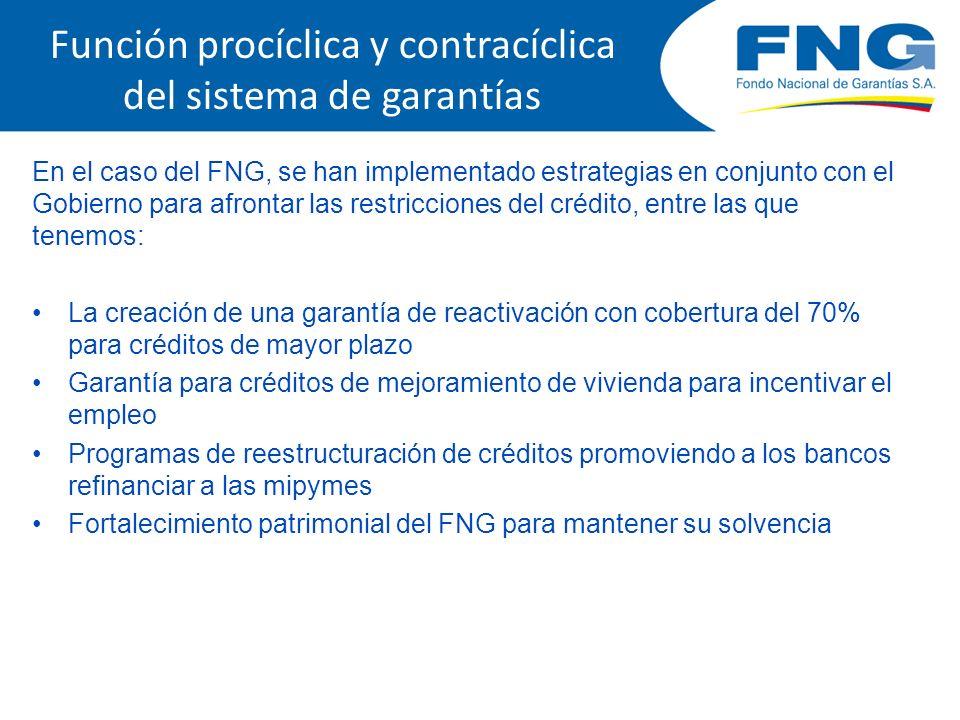 Función procíclica y contracíclica del sistema de garantías En el caso del FNG, se han implementado estrategias en conjunto con el Gobierno para afron