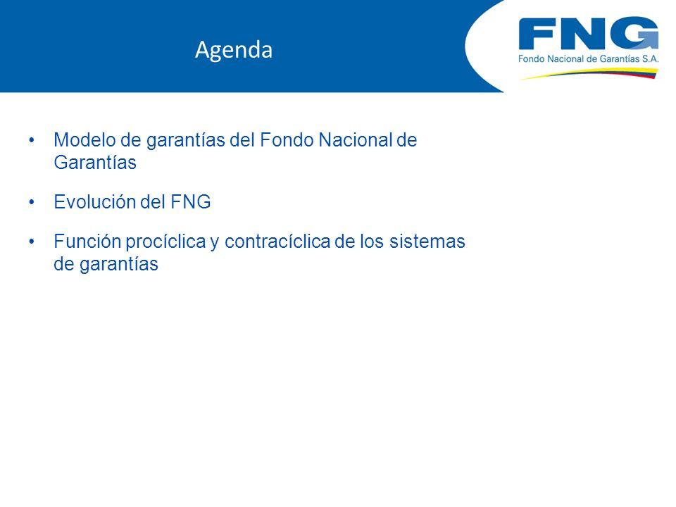 Agenda Modelo de garantías del Fondo Nacional de Garantías Evolución del FNG Función procíclica y contracíclica de los sistemas de garantías