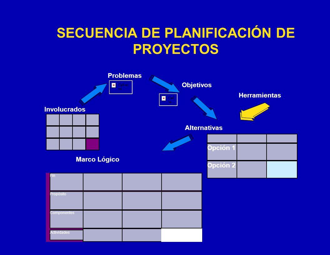 SECUENCIA DE PLANIFICACIÓN DE PROYECTOS Fin Propósito Componentes Actividades Involucrados Problemas Marco Lógico Objetivos Opción 1 Opción 2 Alternat