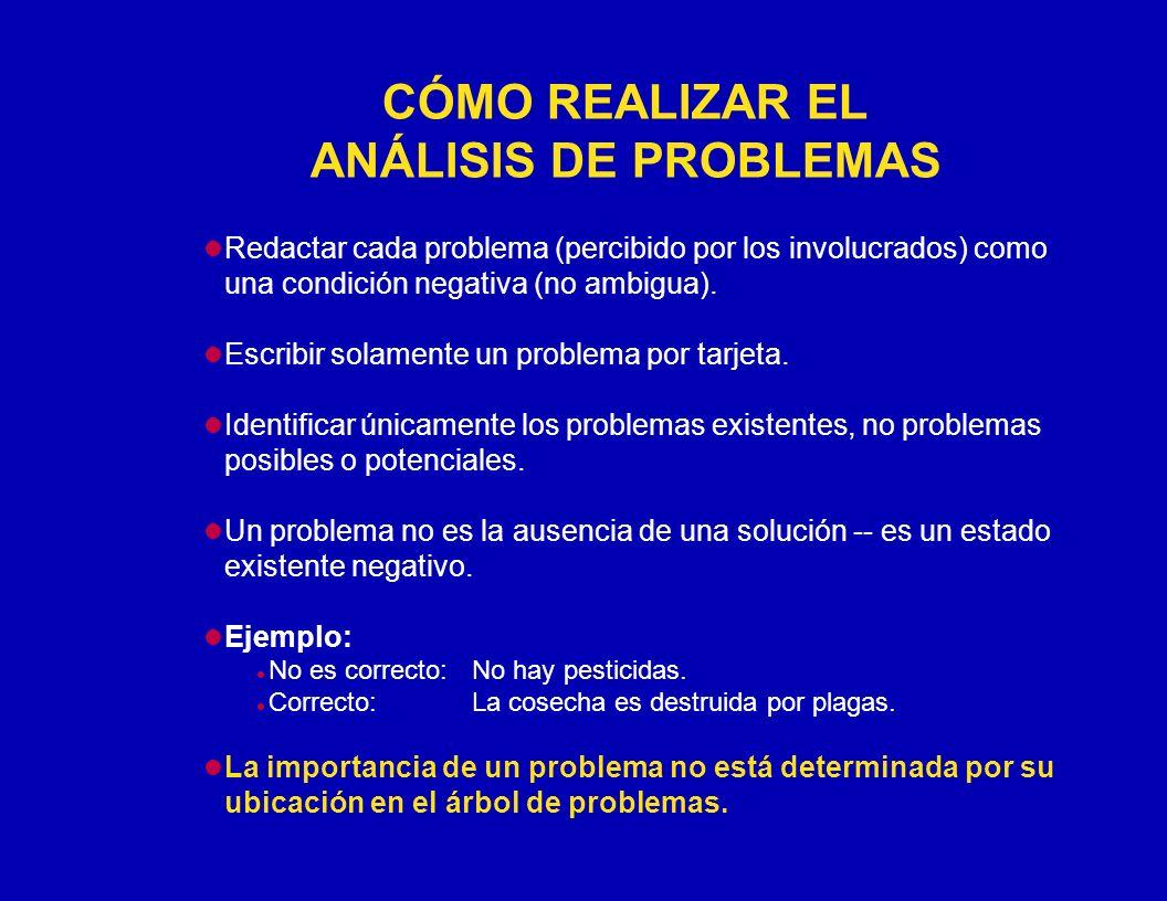 CÓMO REALIZAR EL ANÁLISIS DE PROBLEMAS Redactar cada problema (percibido por los involucrados) como una condición negativa (no ambigua). Escribir sola