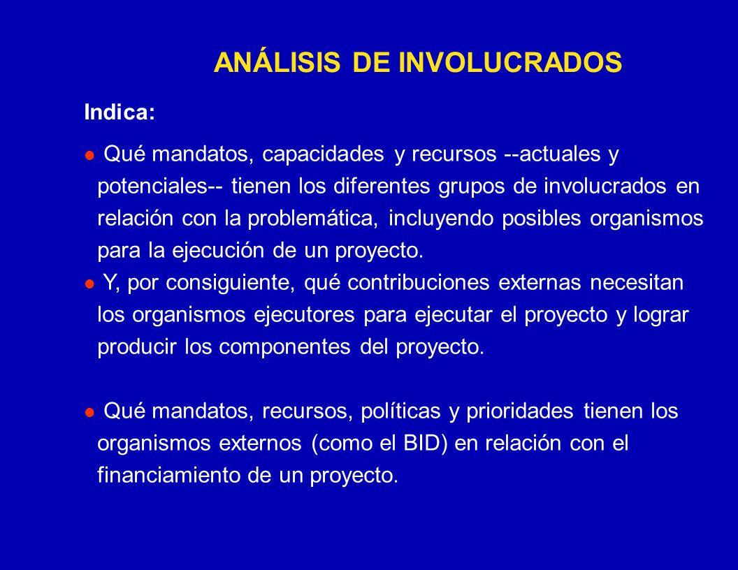 CUADRO DE INVOLUCRADOS Grupos Intereses Problemas Percibidos Recursos y Mandatos Interés en un Proyecto Conflictos Potenciales