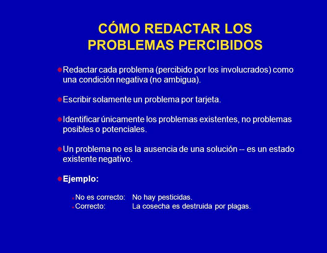 CÓMO REDACTAR LOS PROBLEMAS PERCIBIDOS Redactar cada problema (percibido por los involucrados) como una condición negativa (no ambigua). Escribir sola