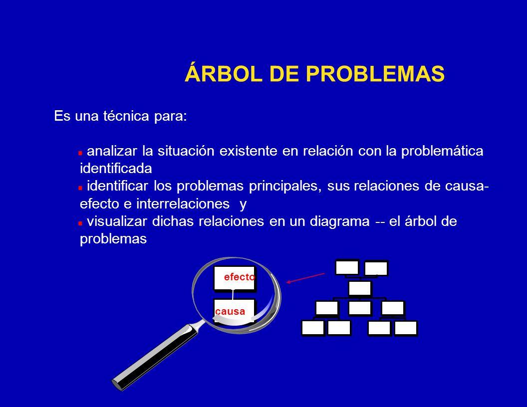 CÓMO REALIZAR EL ANÁLISIS DE PROBLEMAS Redactar cada problema (percibido por los involucrados) como una condición negativa (no ambigua).
