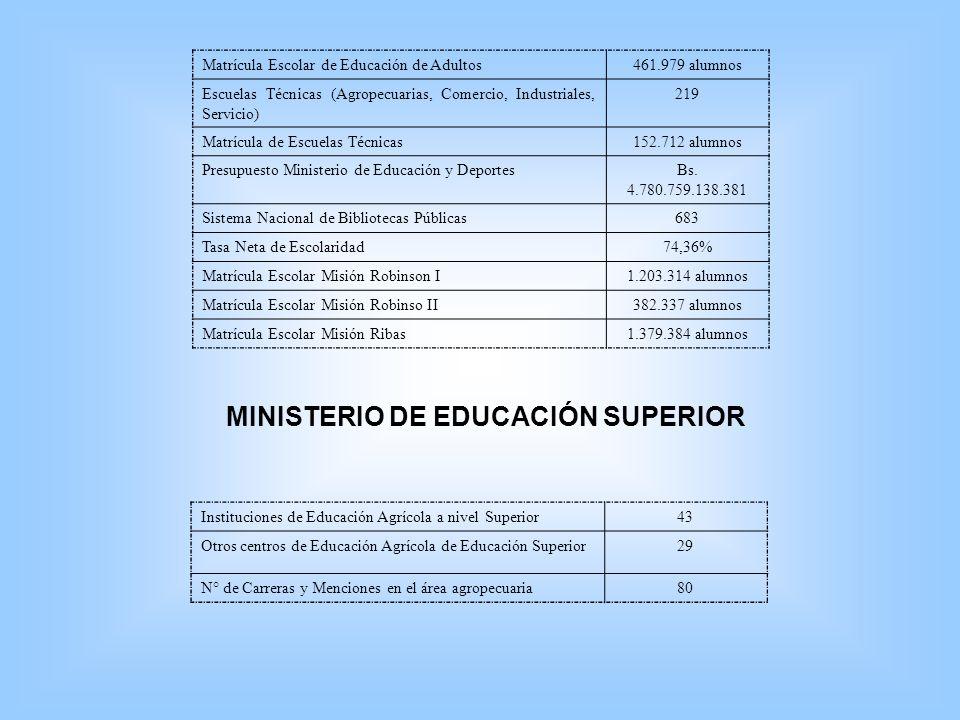 Matrícula Escolar de Educación de Adultos461.979 alumnos Escuelas Técnicas (Agropecuarias, Comercio, Industriales, Servicio) 219 Matrícula de Escuelas