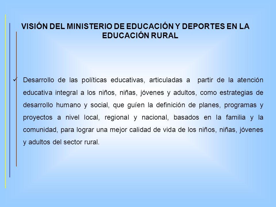 VISIÓN DEL MINISTERIO DE EDUCACIÓN Y DEPORTES EN LA EDUCACIÓN RURAL Desarrollo de las políticas educativas, articuladas a partir de la atención educat