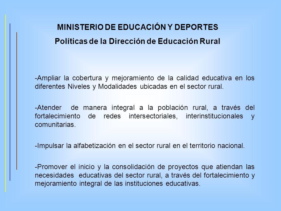 MINISTERIO DE EDUCACIÓN Y DEPORTES Políticas de la Dirección de Educación Rural -Ampliar la cobertura y mejoramiento de la calidad educativa en los di