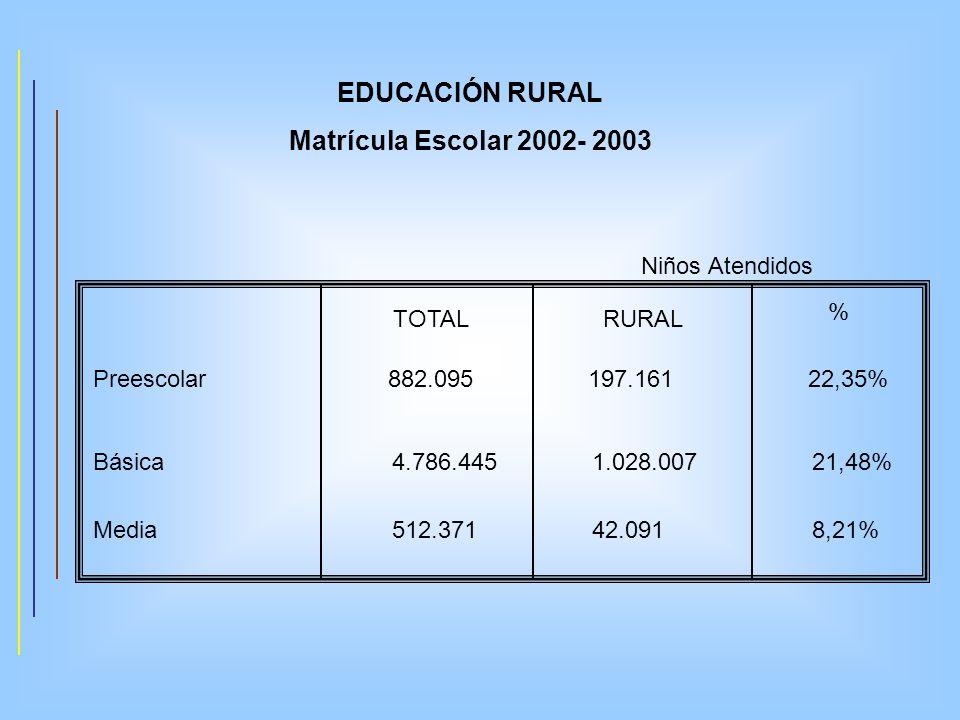 EDUCACIÓN RURAL Matrícula Escolar 2002- 2003 Preescolar 882.095 197.161 22,35% Niños Atendidos TOTALRURAL % Básica 4.786.445 1.028.007 21,48% Media 51
