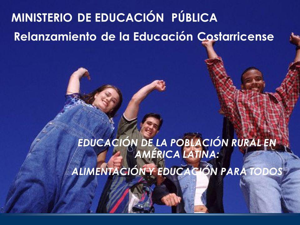 EJE PRIOROTARIO DE LA AGENDA SOCIAL Relanzar, con equidad social, la educación costarricense, para que esta sea el eje prioritario de la agenda social del país, en el marco del combate a la pobreza, la reducción de las brechas entre la educación rural y la educación urbana.