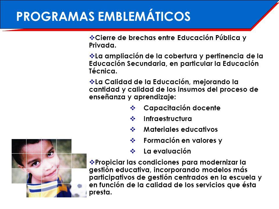 COBERTURA El sistema atiende a más de 1 millón de niños, niñas, adolescentes y adultos (¼ de la población nacional).