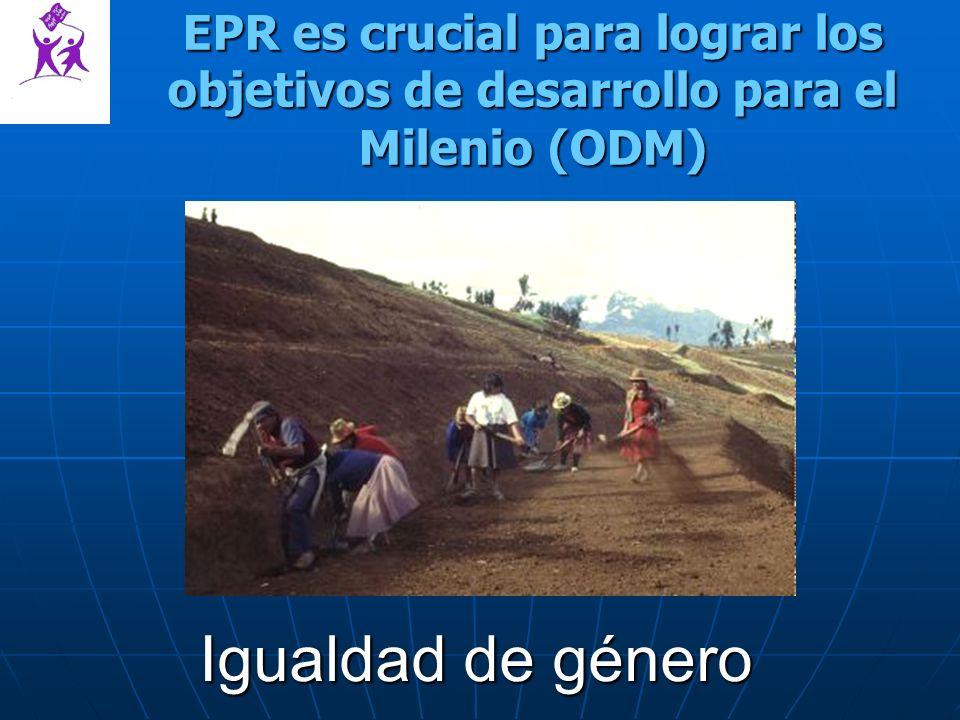 EPR es crucial para lograr los objetivos de desarrollo para el Milenio (ODM) Igualdad de género