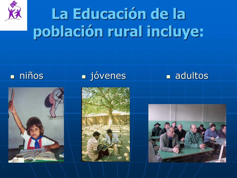La Educación de la población rural incluye La Educación de la población rural incluye: niños niños adultos adultos jóvenes jóvenes