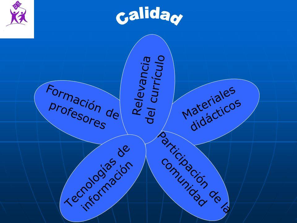 Materiales didácticos Tecnologías de información Formación de profesores Relevancia del currículo Participación de la comunidad