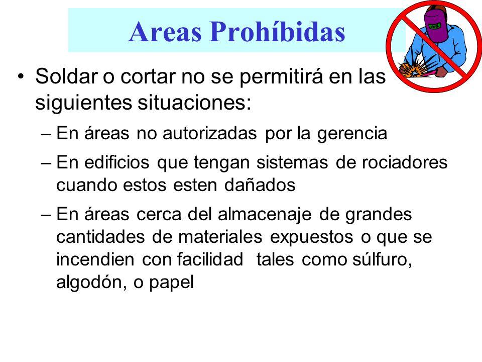 Areas Prohíbidas Soldar o cortar no se permitirá en las siguientes situaciones: –En áreas no autorizadas por la gerencia –En edificios que tengan sist