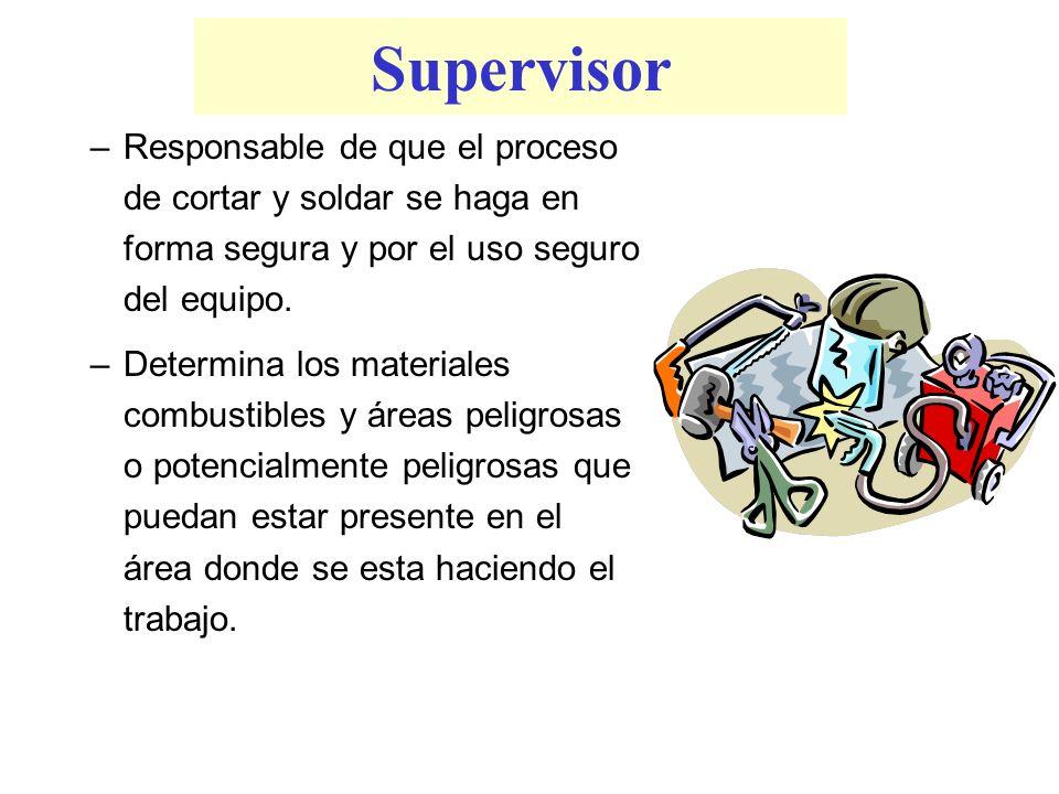 Supervisor –Responsable de que el proceso de cortar y soldar se haga en forma segura y por el uso seguro del equipo. –Determina los materiales combust