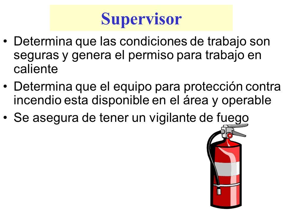 Supervisor Determina que las condiciones de trabajo son seguras y genera el permiso para trabajo en caliente Determina que el equipo para protección c