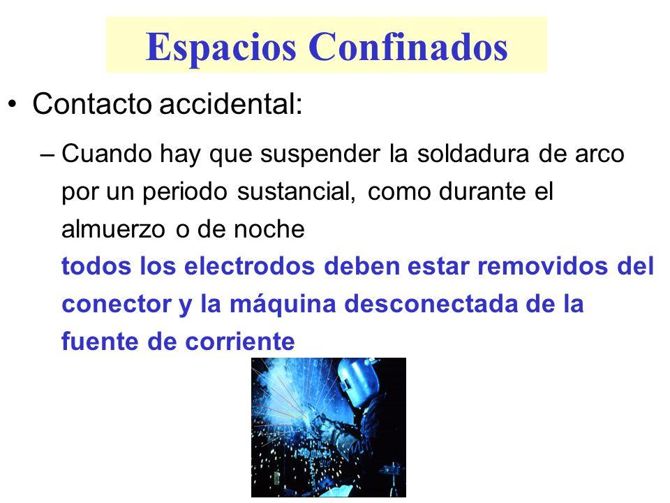 Espacios Confinados Contacto accidental: –Cuando hay que suspender la soldadura de arco por un periodo sustancial, como durante el almuerzo o de noche