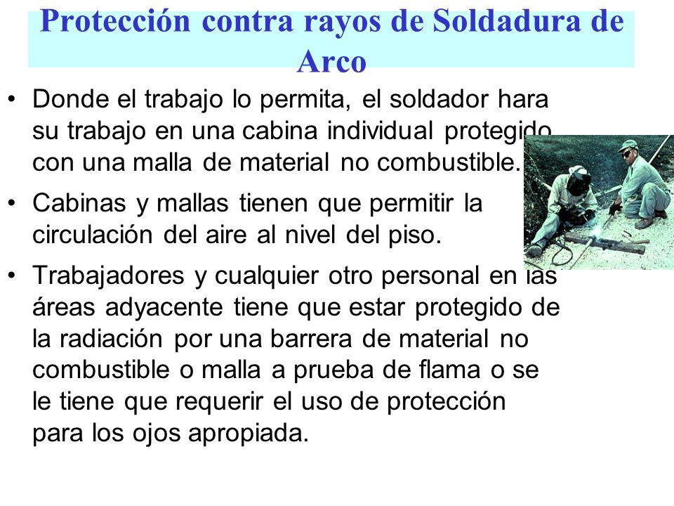 Protección contra rayos de Soldadura de Arco Donde el trabajo lo permita, el soldador hara su trabajo en una cabina individual protegido con una malla