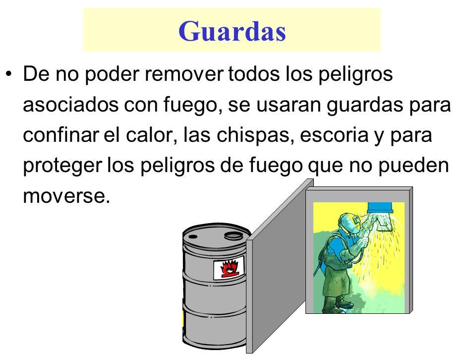 Guardas De no poder remover todos los peligros asociados con fuego, se usaran guardas para confinar el calor, las chispas, escoria y para proteger los
