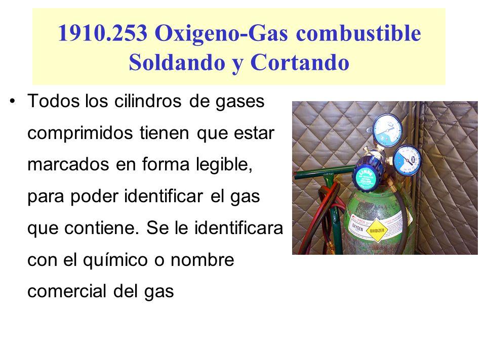1910.253 Oxigeno-Gas combustible Soldando y Cortando Todos los cilindros de gases comprimidos tienen que estar marcados en forma legible, para poder i