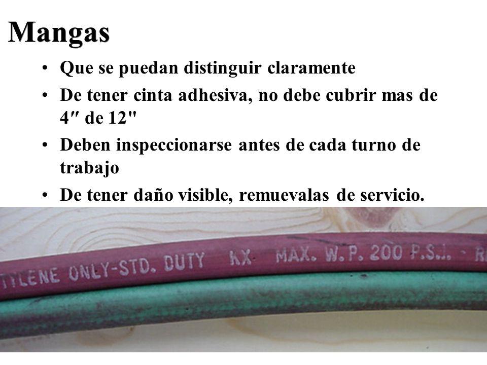 Mangas Que se puedan distinguir claramente De tener cinta adhesiva, no debe cubrir mas de 4 de 12