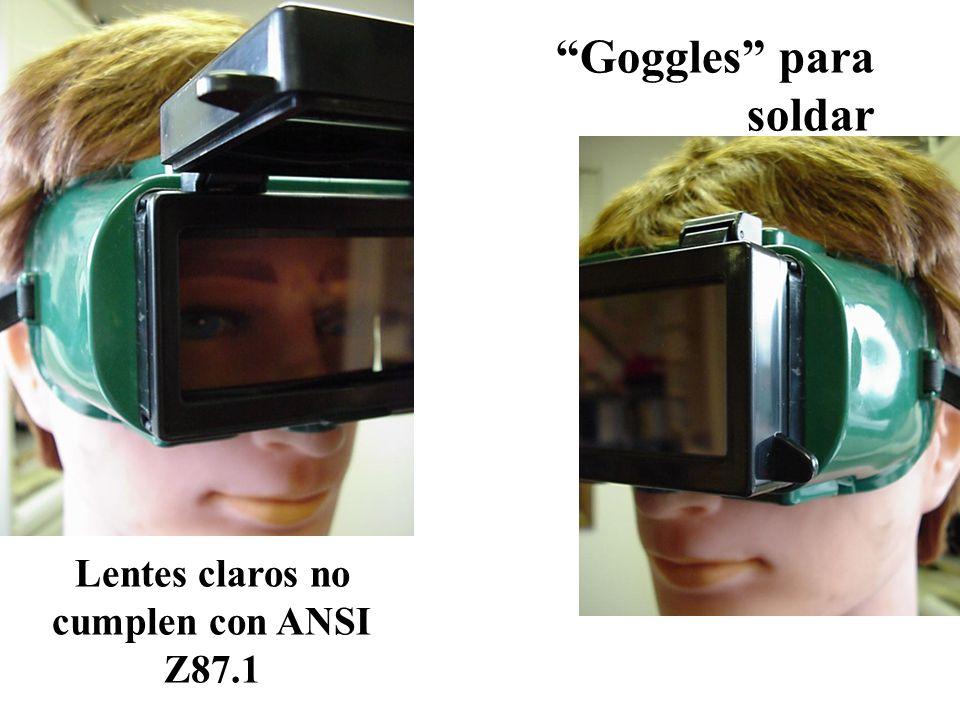 Goggles para soldar Lentes claros no cumplen con ANSI Z87.1