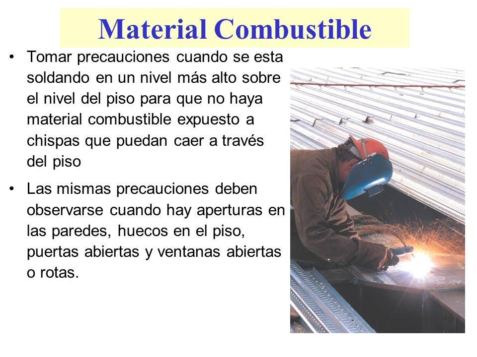 Material Combustible Tomar precauciones cuando se esta soldando en un nivel más alto sobre el nivel del piso para que no haya material combustible exp