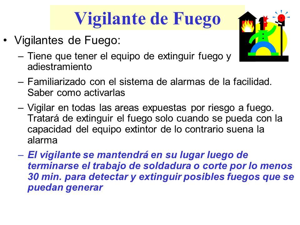 Vigilante de Fuego Vigilantes de Fuego: –Tiene que tener el equipo de extinguir fuego y adiestramiento –Familiarizado con el sistema de alarmas de la