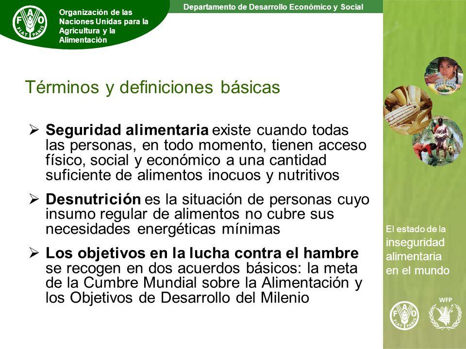 2 The State of Food Insecurity in the World Departamento de Desarrollo Económico y Social Organización de las Naciones Unidas para la Agricultura y la Alimentación El estado de la inseguridad alimentaria en el mundo Términos y definiciones básicas Seguridad alimentaria existe cuando todas las personas, en todo momento, tienen acceso físico, social y económico a una cantidad suficiente de alimentos inocuos y nutritivos Desnutrición es la situación de personas cuyo insumo regular de alimentos no cubre sus necesidades energéticas mínimas Los objetivos en la lucha contra el hambre se recogen en dos acuerdos básicos: la meta de la Cumbre Mundial sobre la Alimentación y los Objetivos de Desarrollo del Milenio