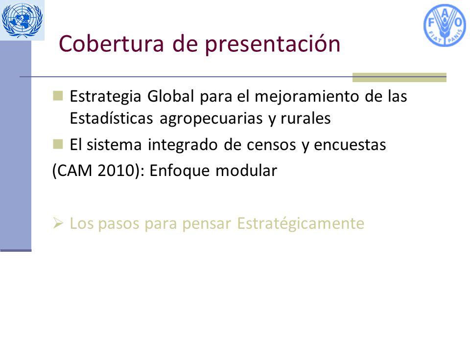 Cobertura de presentación Estrategia Global para el mejoramiento de las Estadísticas agropecuarias y rurales El sistema integrado de censos y encuestas (CAM 2010): Enfoque modular Los pasos para pensar Estratégicamente