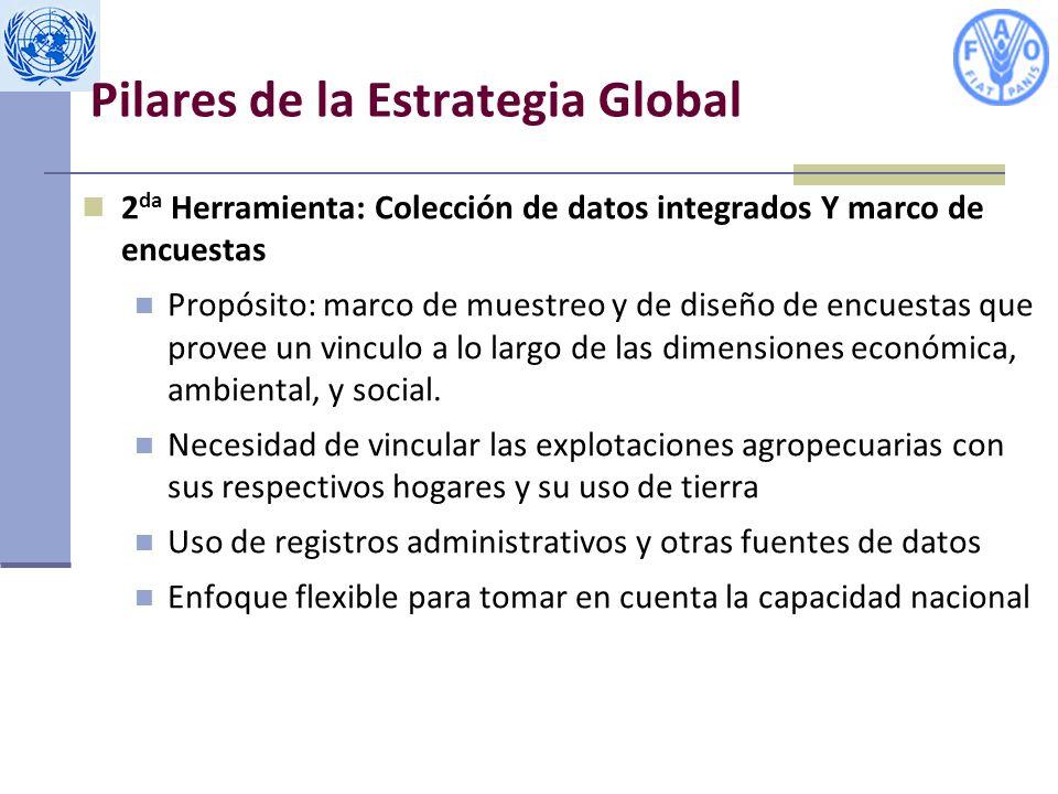 Pilares de la Estrategia Global 2 da Herramienta: Colección de datos integrados Y marco de encuestas Propósito: marco de muestreo y de diseño de encuestas que provee un vinculo a lo largo de las dimensiones económica, ambiental, y social.