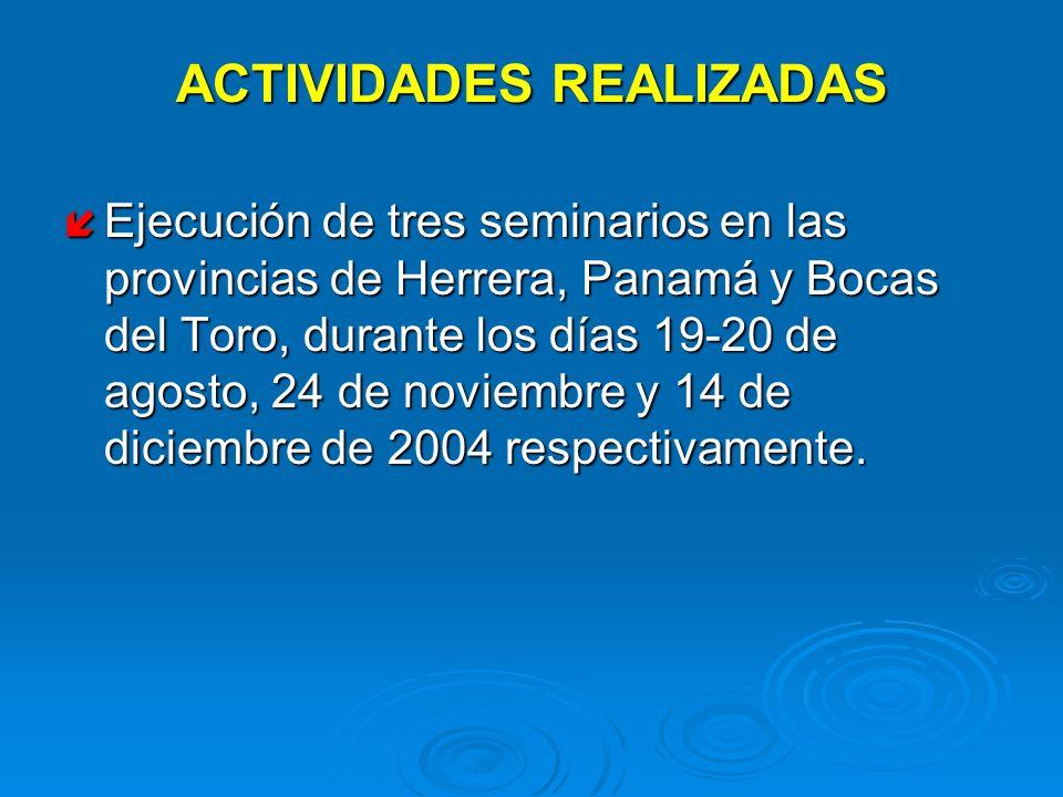 ACTIVIDADES REALIZADAS Ejecución de tres seminarios en las provincias de Herrera, Panamá y Bocas del Toro, durante los días 19-20 de agosto, 24 de nov