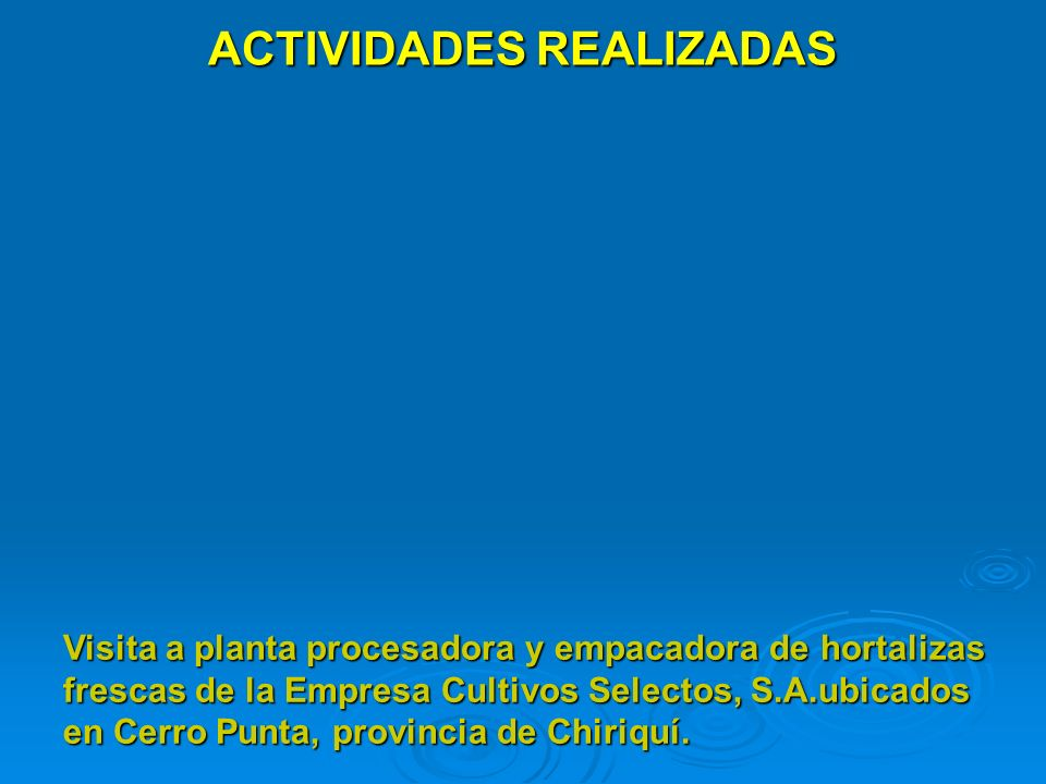 ACTIVIDADES REALIZADAS Visita a planta procesadora y empacadora de hortalizas frescas de la Empresa Cultivos Selectos, S.A.ubicados en Cerro Punta, pr